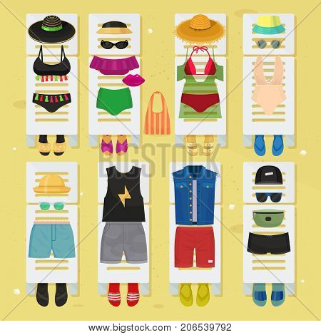 Summer time beach fashion clothes looks design. Beachwear bikini cloth fashion looks vacation lifestyle collection sea party beauty clothes vector illustraton