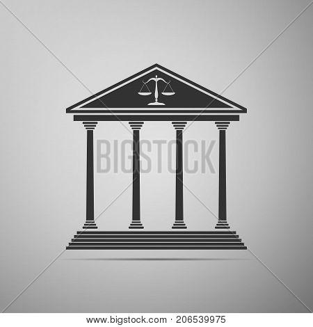 Courthouse icon isolated on grey background. Flat design. Vector Illustration