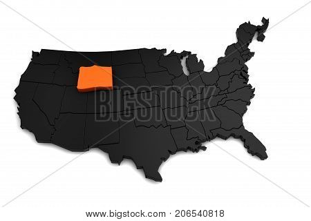 United States of America, 3d black map, with Wyoming state highlighted in orange. 3d render