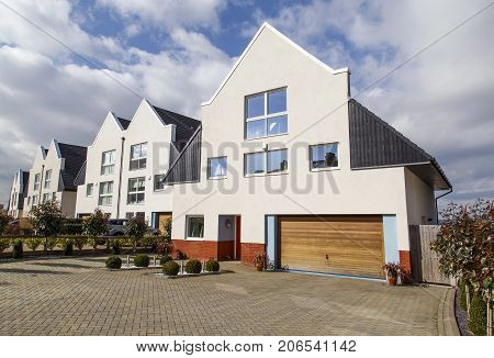 Cardiff, UK: March 10, 2016: A luxury detached house in an upmarket housing estate. Prices of large detached houses in prime locations have escalated enormously in the last decade.