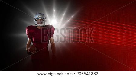 Digital composite of American football player with stadium lights transition