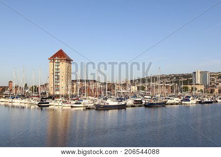 Swansea, UK: September, 2005: Swansea Marina is located behind the new barrage at the mouth of the River Tawe and was first awarded blue flag status in June 2005.
