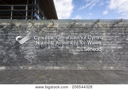 Cardiff, UK: March 10, 2016: The National Assembly for Wales is a devolved assembly with power to make legislation in Wales. It is a popular tourist attraction in the Cardiff Bay area.