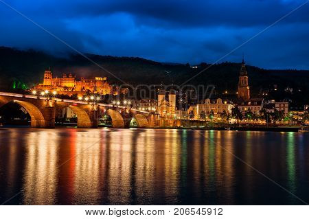 Heidelberg Nightscape Panorama Buildings Reflection On Neckar River