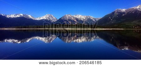 Mountain reflection on the calm waters of Fore Bay Resevoir