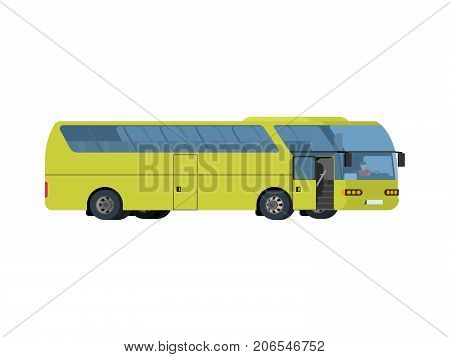 Light green coach big tour bus isolated on white background