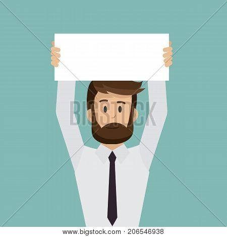Businessman holding empty blank paper over head. Concept business. Vector stock.