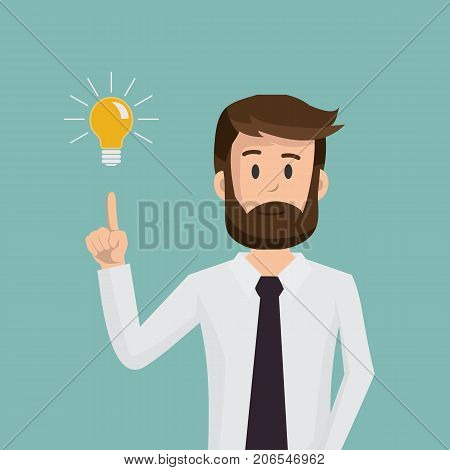 Businessman pointing to the bulb. Idea concept. Thinking business concept. Vector stock.