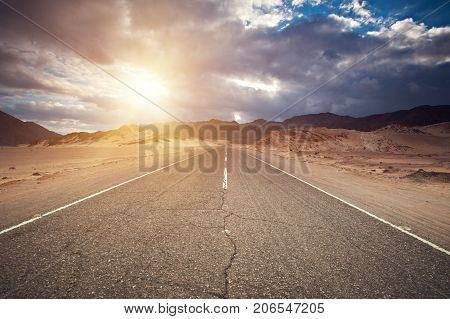 Desert Highway And Mountains At Sunset, Sinai Egypt