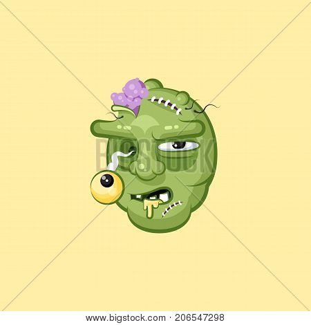 Stock vector isolated illustration horrible cartoon head, terrible facial expression hungry zombie nasty ugly emotion, emoji, sticker for celebrating Day of all Saints, Happy Halloween in flat style