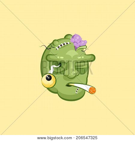 Stock vector isolated illustration horrible cartoon head, terrible facial expression of zombie smoking cigarette emotion, emoji sticker for celebrating Day of all Saints, Happy Halloween in flat style