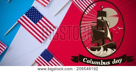 Logo for event american event colombus day  against directly above shot of american flags