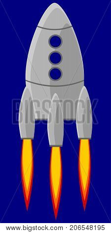 Cartoon rocket space ship vector illustration. Simple retro spaceship icon.