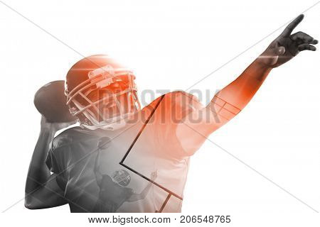 American football player with ball pointing against white background
