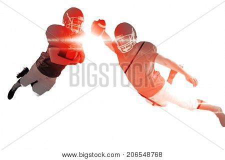 Composite image of american football player scoring a touchdown