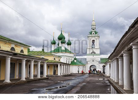 KOSTROMA RUSSIA - MAY 06 2017: The church of Holy Savior on the marketplace. People near the church building