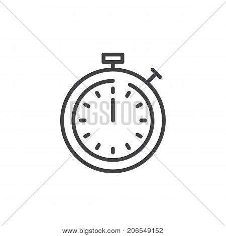 Timer line icon, outline vector sign, linear style pictogram isolated on white. Stopwatch symbol, logo illustration. Editable stroke