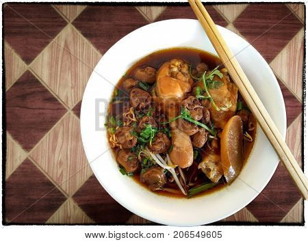 Asian Traditional Style Braised Chicken Leg Noodle Soup