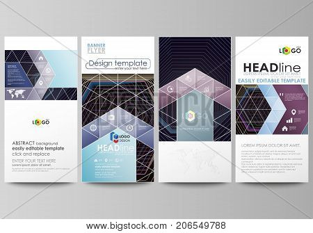 Flyers set, modern banners. Business templates. Cover template, vector layouts. Abstract polygonal background with hexagons, illusion of depth. Black color geometric design, hexagonal geometry