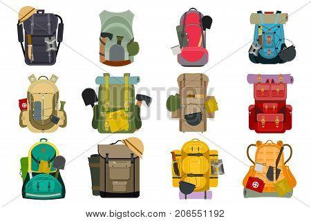 Backpack rucksack travel tourist knapsack in flat style hiking traveler backpacker baggage luggage vector illustration. Outdoor journey equipment backpacking.