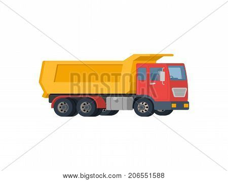 Yellow dump truck with red cabin isolated on white background