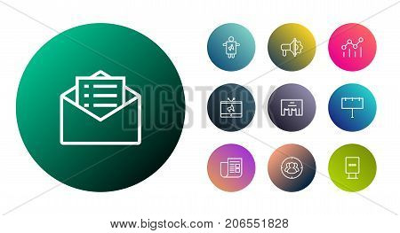 Collection Of Advertising Agency, Worker, Target And Other Elements.  Set Of 10 Advertising Outline Icons Set.