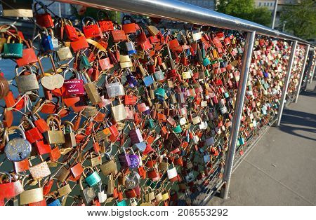 Salzburg Austria - April 21 2016 : Love padlocks on the bridge in Salzburg Town.