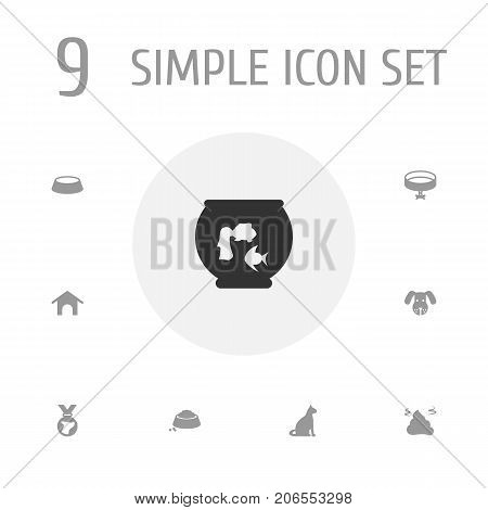 Collection Of Medallion, Dish, Pile And Other Elements.  Set Of 9 Pets Icons Set.