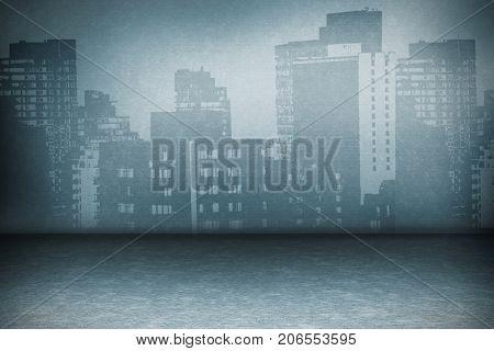 Digitally generated image of buildings against grey room