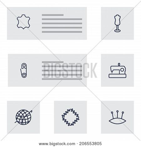 Collection Of Safety Pin, Sewing, Leather And Other Elements.  Set Of 7 Sewing Outline Icons Set.