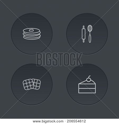 Collection Of Rolling Pin, Pancakes, Cheesecake And Other Elements.  Set Of 4 Cooking Outline Icons Set.