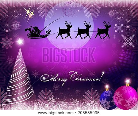 purple christmas background with santa claus slowly riding deer
