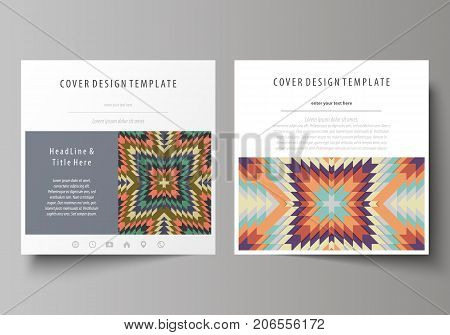 Business templates for square design brochure, magazine, flyer, booklet. Leaflet cover, abstract vector layout. Tribal pattern, geometrical ornament in ethno syle, vintage fashion background