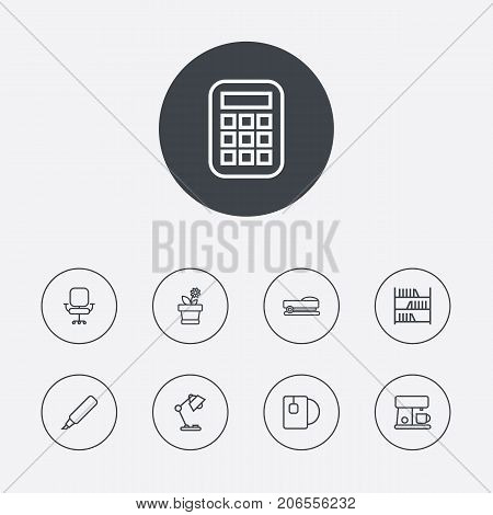 Collection Of Bookshelf, Marker, Calculator And Other Elements.  Set Of 9 Bureau Outline Icons Set.