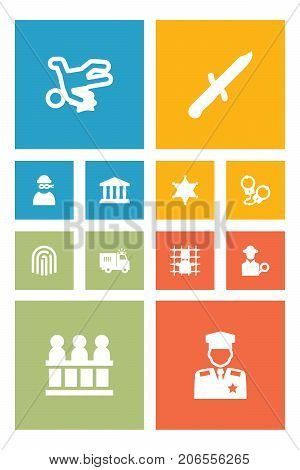 Collection Of Building, Jury, Policeman And Other Elements.  Set Of 12 Criminal Icons Set.