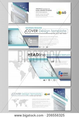Social media and email headers set, modern banners. Abstract design template, vector layouts in popular sizes. Chemistry pattern, connecting lines and dots, molecule structure, medical DNA research