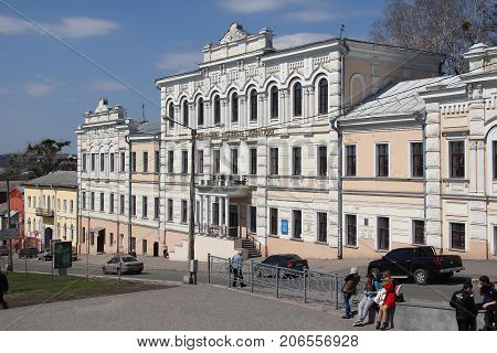 KHARKOV, UKRAINE - APRIL 17, 2013: This is building of the former Spiritual Seminary (bursa) on Bursatsky descent which now houses the Academy of Culture.