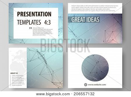 Set of business templates for presentation slides. Abstract vector layouts in flat design. Compounds lines and dots. Big data visualization in minimal style. Graphic communication background