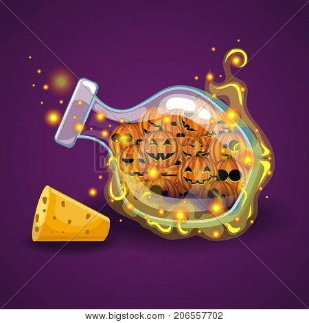 Bottle of Halloween pumpkin with magic smoke. Game design illustration