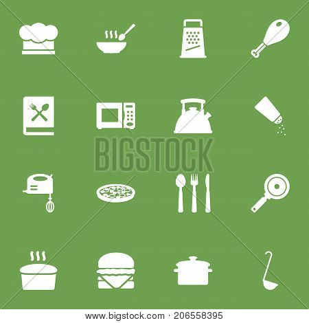 Collection Of Electronic Oven, Silverware, Kitchen Rasp And Other Elements.  Set Of 16 Culinary Icons Set.