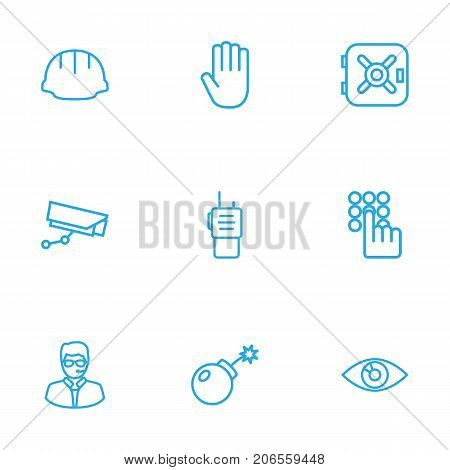 Collection Of Dynamite  , Hand , Safe Elements.  Set Of 9 Safety Outline Icons Set.