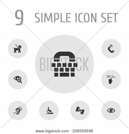 Collection Of Ramp, Listening Device, Gesture And Other Elements.  Set Of 9 Disabled Icons Set.