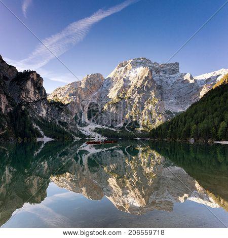 Seekofel reflecting at Lake Prags South Tyrol Italy