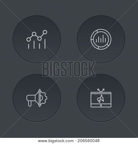 Collection Of Advertising Agency, Market, Campaign And Other Elements.  Set Of 4 Advertising Outline Icons Set.