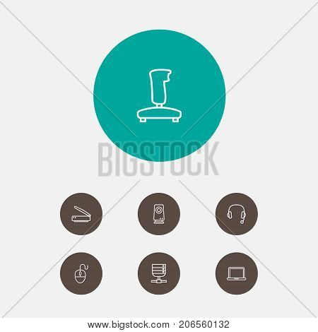 Collection Of Notebook, Server, Headphone And Other Elements.  Set Of 7 Notebook Outline Icons Set.