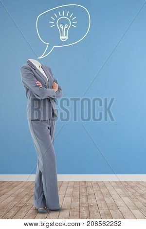 Headless businesswoman standing with arms crossed against vector image of bulb icon on speech bubble