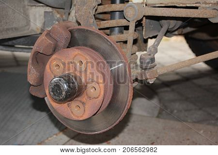 Brake Calliper And Disc Of An Old Car