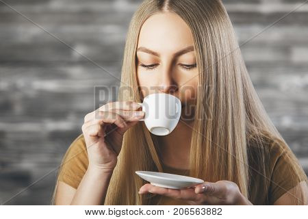 Attractive Female Drinking Coffee