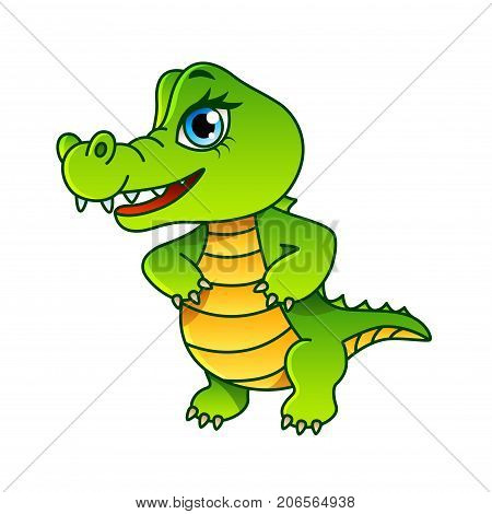 Cartoon crocodile isolated on white vector illustration