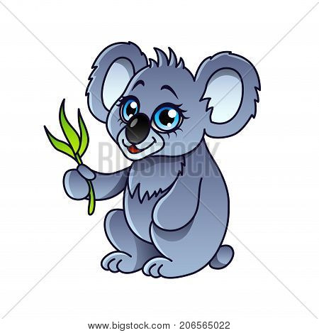 Cartoon koala isolated on white vector illustration